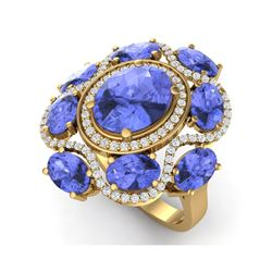 9.67 ctw Tanzanite & VS Diamond Ring 18K Yellow Gold