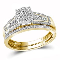10kt Yellow Gold Round Diamond Cluster Bridal Wedding Engagement Ring Band Set 1/3 Cttw