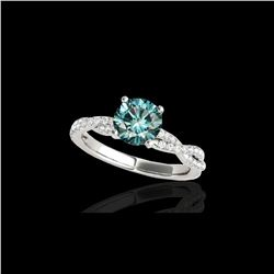 1.25 ctw SI Certified Fancy Blue Diamond Solitaire Ring 10K White Gold