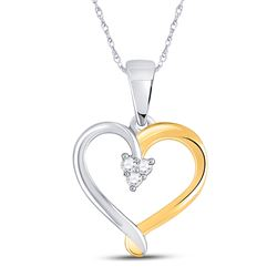 Two-tone Sterling Silver Round Diamond Heart Cluster Pendant 1/20 Cttw