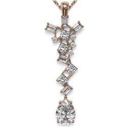 2.2 ctw Pear Cut Diamond Designer Necklace 18K Rose Gold