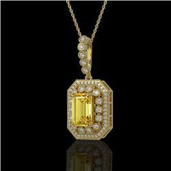 5.82 ctw Canary Citrine & Diamond Victorian Necklace 14K Yellow Gold