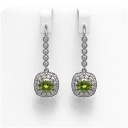 4.5 ctw Tourmaline & Diamond Victorian Earrings 14K White Gold