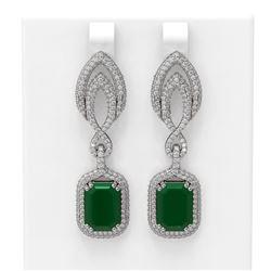 14.72 ctw Emerald & Diamond Earrings 18K White Gold