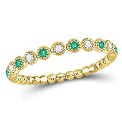 10kt Yellow Gold Round Emerald Diamond Dot Stackable Band Ring 1/6 Cttw