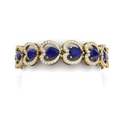 32.15 ctw Sapphire & VS Diamond Bracelet 18K Yellow Gold