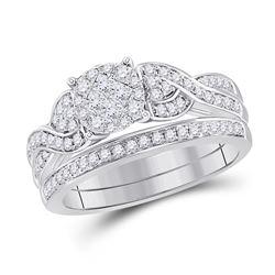 14kt White Gold Princess Diamond Bridal Wedding Engagement Ring Band Set 5/8 Cttw