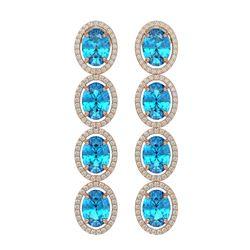 14.76 ctw Swiss Topaz & Diamond Micro Pave Halo Earrings 10K Rose Gold