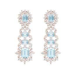 33.36 ctw Sky Topaz & VS Diamond Earrings 18K Rose Gold