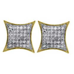 10kt Yellow Gold Round Pave-set Diamond Square Kite Cluster Earrings 1/5 Cttw