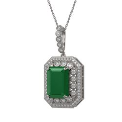 16.46 ctw Emerald & Diamond Victorian Necklace 14K White Gold