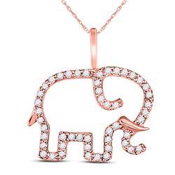 10kt Rose Gold Round Diamond Elephant Animal Pendant 1/6 Cttw