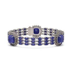 39.16 ctw Sapphire & Diamond Bracelet 14K White Gold