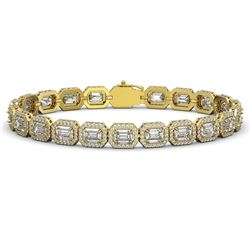 16.72 ctw Emerald Cut Diamond Micro Pave Bracelet 18K Yellow Gold