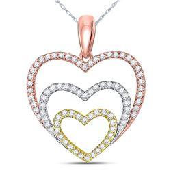 10kt Tri-Tone Gold Round Diamond Triple Nested Heart Pendant 1/3 Cttw