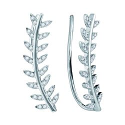 10kt White Gold Round Diamond Floral Leaf Climber Earrings 1/4 Cttw