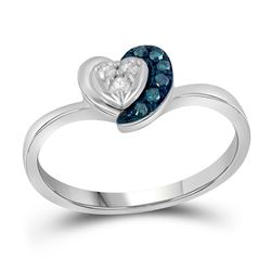 Sterling Silver Round Blue Color Enhanced Diamond Small Simple Heart Ring 1/8 Cttw