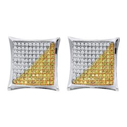 10kt White Gold Mens Round Yellow Color Enhanced Diamond Square Cluster Earrings 1/4 Cttw