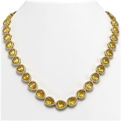 36.8 ctw Fancy Citrine & Diamond Micro Pave Halo Necklace 10K Yellow Gold