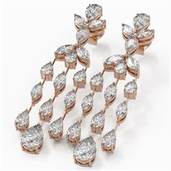8.5 ctw Pear and Marquise Diamond Earrings 18K Rose Gold