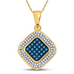 10kt Yellow Gold Round Blue Color Enhanced Diamond Diagonal Square Cluster Pendant 1/4 Cttw