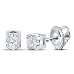 Sterling Silver Round Diamond Solitaire Screwback Earrings 1/20 Cttw