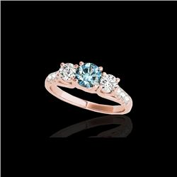 3.25 ctw SI Certified Fancy Blue Diamond 3 Stone Ring 10K Rose Gold