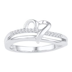 Sterling Silver Round Diamond Heart Ring 1/20 Cttw