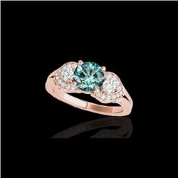 1.45 ctw SI Certified Fancy Blue Diamond 3 Stone Ring 10K Rose Gold