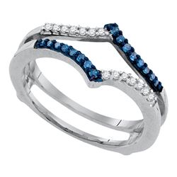 10kt White Gold Round Blue Color Enhanced Diamond Ring Guard Wrap Enhancer Band 1/5 Cttw