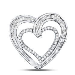 10kt White Gold Round Diamond Heart Pendant 1/3 Cttw