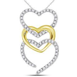 10kt Two-tone Gold Round Diamond Triple Vertical Heart Pendant 1/6 Cttw