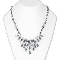 56.26 ctw Blue Topaz & Diamond Necklace 18K White Gold