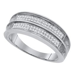 Sterling Silver Mens Round Pave-set Diamond Wedding Band Ring 1/4 Cttw