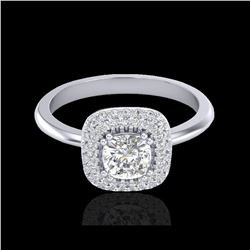 1.16 ctw Micro SI Cushion Diamond Engagement Ring Halo 18K White Gold