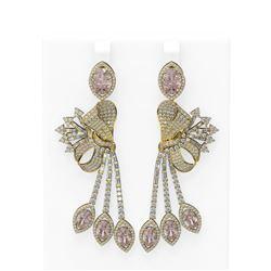 18.13 ctw Morganite & Diamond Earrings 18K Yellow Gold