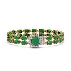 32.18 ctw Emerald & Diamond Bracelet 14K Yellow Gold