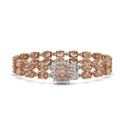 16.93 ctw Morganite & Diamond Bracelet 14K Rose Gold