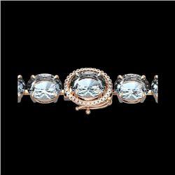 60 ctw Aquamarine & Micro Pave Diamond Bracelet 14K Rose Gold