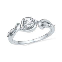 10kt White Gold Round Diamond Solitaire Bridal Wedding Engagement Ring 1/8 Cttw
