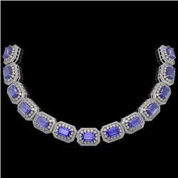 50.67 ctw Tanzanite & Diamond Victorian Bracelet 14K White Gold