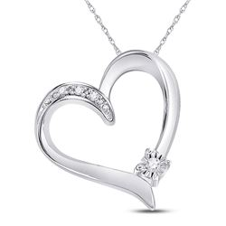 Sterling Silver Round Diamond Solitaire Heart Pendant .03 Cttw