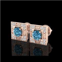1.63 ctw Fancy Intense Blue Diamond Art Deco Earrings 18K Rose Gold
