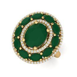 8.05 ctw Designer Emerald & VS Diamond Ring 18K Yellow Gold