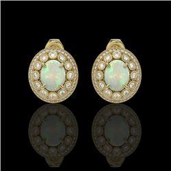 7.4 ctw Certified Opal & Diamond Victorian Earrings 14K Yellow Gold
