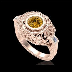 1.13 ctw Intense Fancy Yellow Diamond Art Deco Ring 18K Rose Gold