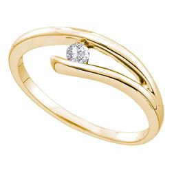14kt Yellow Gold Round Diamond Solitaire Promise Bridal Ring 1/10 Cttw