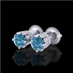 1.75 ctw Fancy Intense Blue Diamond Art Deco Earrings 18K White Gold