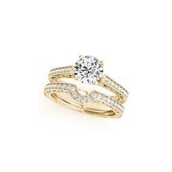 0.67 ctw Certified VS/SI Diamond 2pc Wedding Set Antique 14K Yellow Gold