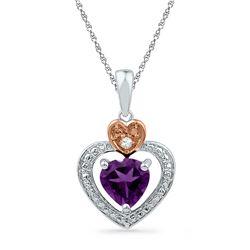 10kt Two-tone Gold Heart Lab-Created Amethyst & Diamond Heart Pendant 3/4 Cttw